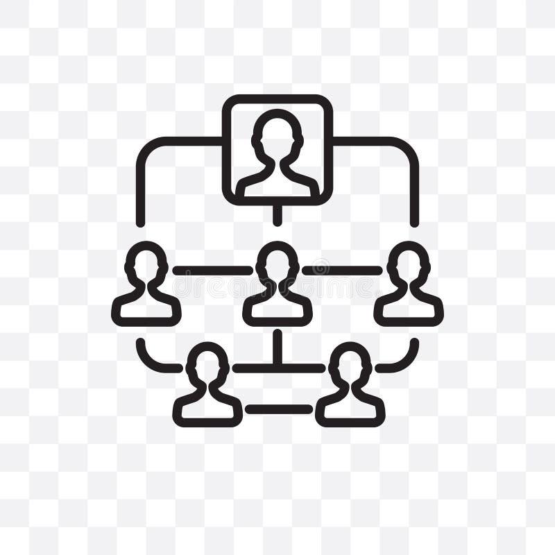 Hierarchical struktury wektorowa liniowa ikona odizolowywająca na przejrzystym tle, Hierarchical struktury przezroczystości pojęc royalty ilustracja