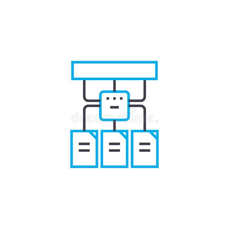 Hierarchical struktury wektoru uderzenia cienka kreskowa ikona Hierarchical struktury konturu ilustracja, liniowy znak, symbol ilustracji