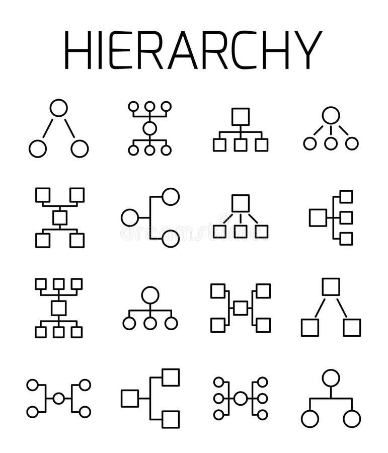 Hierarchie bezog sich Vektorikonensatz lizenzfreie abbildung