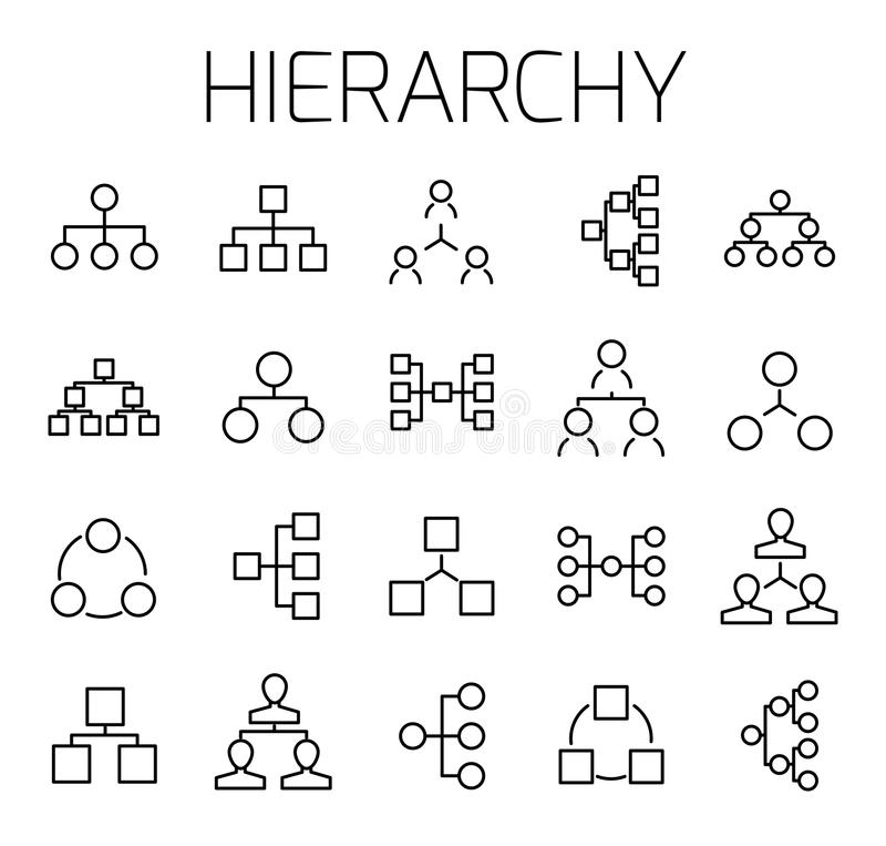Hierarchie bezog sich Vektorikonensatz stock abbildung