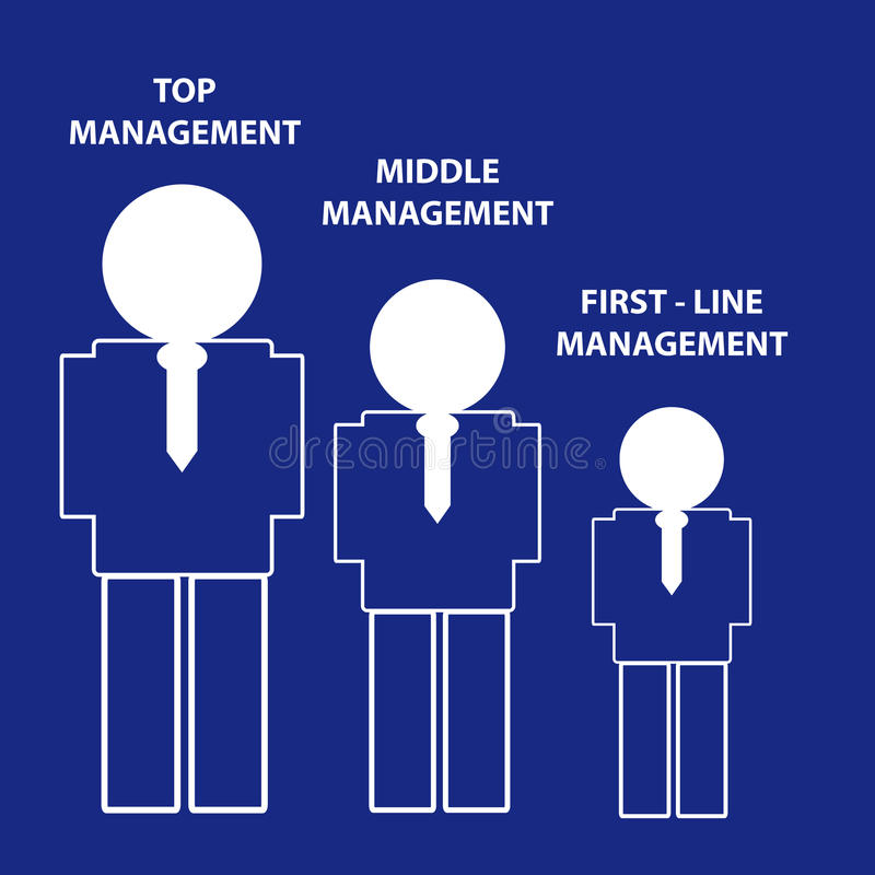 Hierarchie des Managements auf blauem Hintergrund stock abbildung
