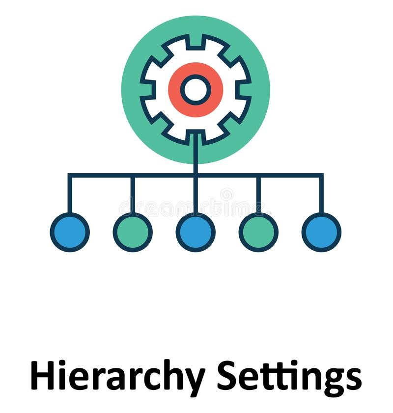 Hierarchie-Einstellungen lokalisiert und Vektor-Ikone für Technologie vektor abbildung