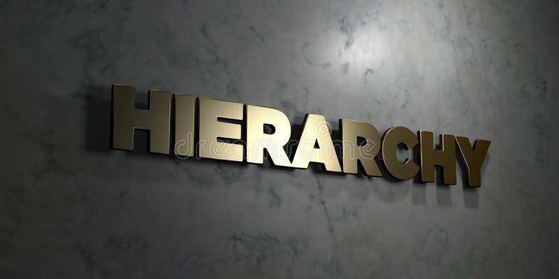 Hierarchie - Goldtext auf schwarzem Hintergrund - 3D übertrug freies Bild der Abgabe auf Lager lizenzfreie abbildung