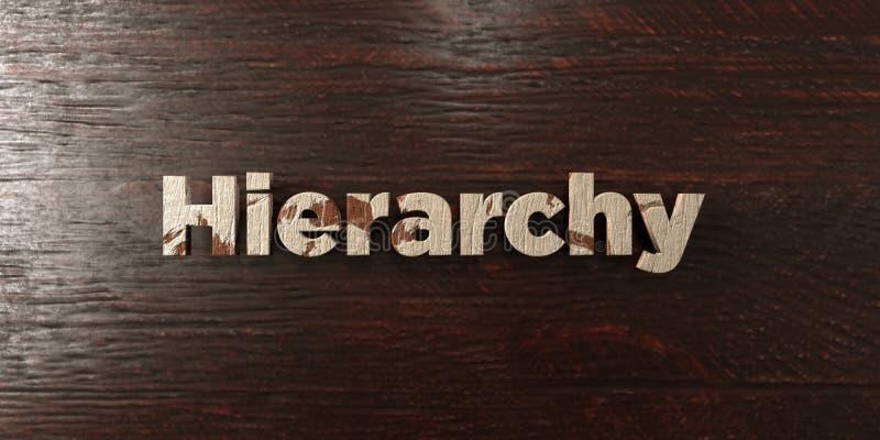 Hierarchie - grungy hölzerne Schlagzeile auf Ahorn - 3D übertrug freies Archivbild der Abgabe lizenzfreie abbildung