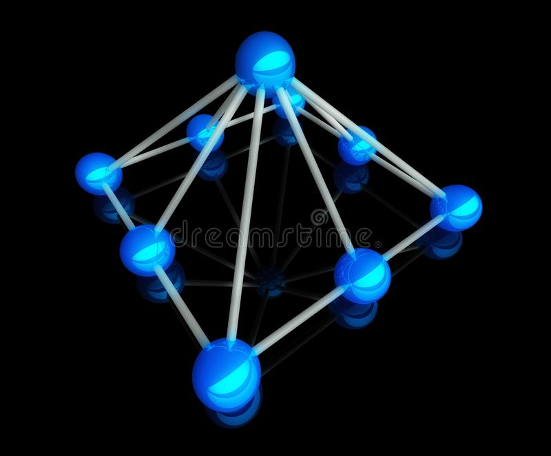 Hierarchie im Geschäft, Kommunikation des Netzes 3d vektor abbildung