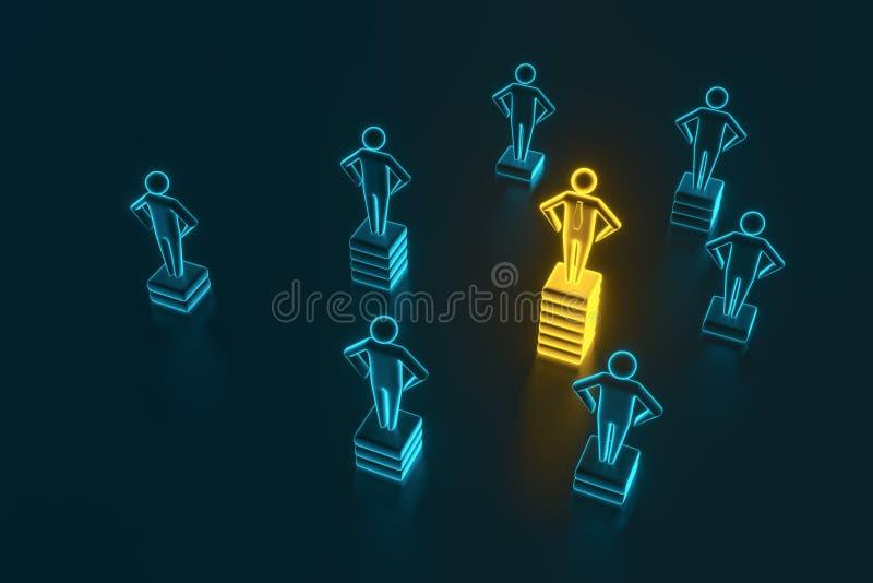 Hierarchie-, Macht-, Management- und F?hrungskonzept Einzigartig sein und die beste Wiedergabe 3D stock abbildung