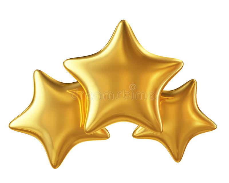 Hierarchie mit drei goldene Sternen lokalisiert auf weißem Hintergrund lizenzfreie abbildung