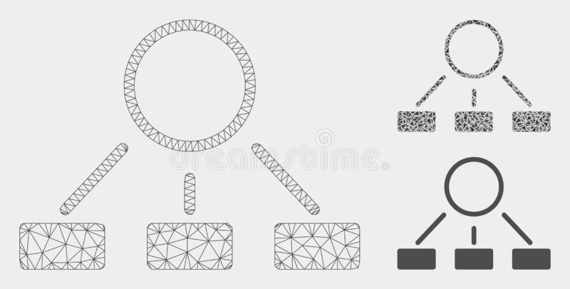 Hierarchie-Vektor Mesh Carcass Model und Dreieck-Mosaik-Ikone lizenzfreie abbildung