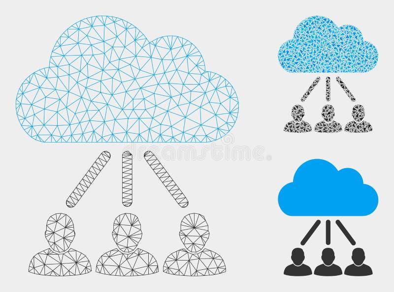 Hierarchie-Vektor Mesh Network Model und Dreieck-Mosaik-Ikone stock abbildung