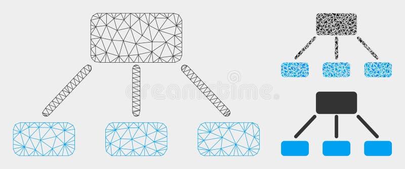 Hierarchie-Vektor Mesh Network Model und Dreieck-Mosaik-Ikone lizenzfreie abbildung
