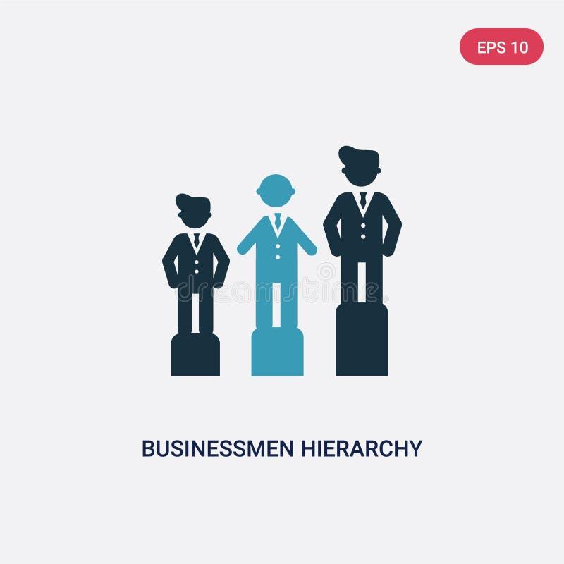 Hierarchie-Vektorikone mit zwei Farbgeschäftsmännern vom Leutekonzept lokalisiertes blaues Geschäftsmannhierarchievektor-Zeichens vektor abbildung