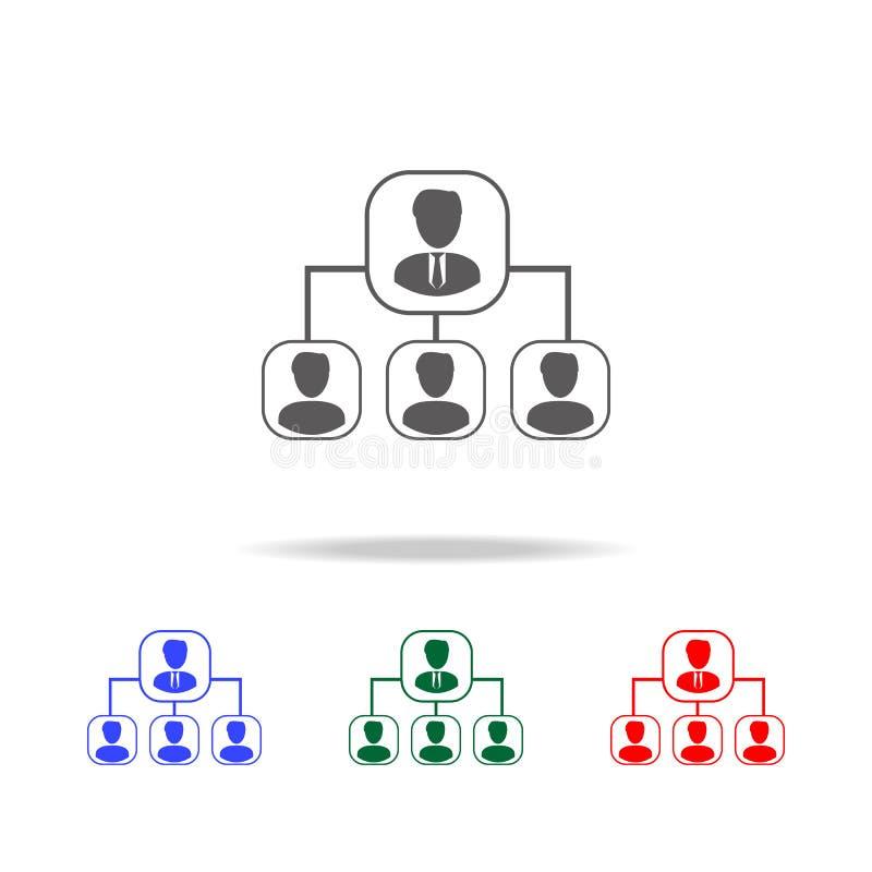 Hierarchieikone Elemente der menschlichen Ressource in den multi farbigen Ikonen Geschäft, Zeichen der menschlichen Ressource Suc lizenzfreie abbildung