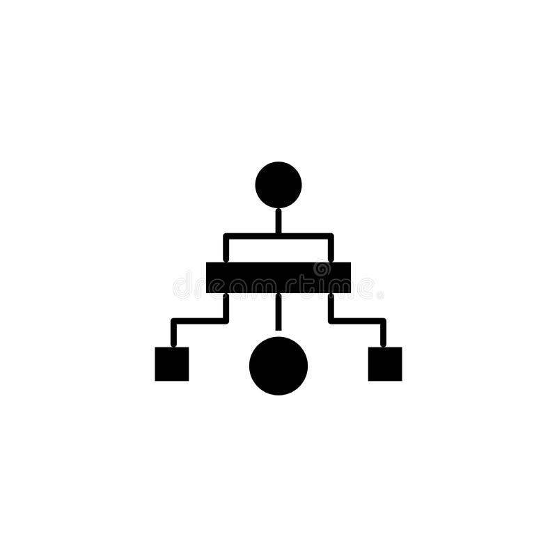 Hierarchisches Diagrammschwarz-Ikonenkonzept Flaches Vektorsymbol des hierarchischen Diagramms, Zeichen, Illustration stock abbildung