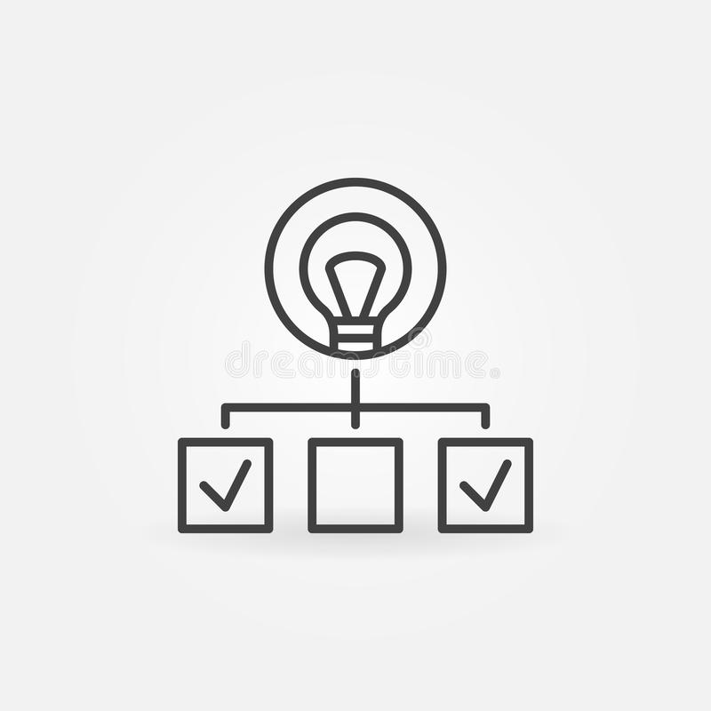 Hierarchy with bulb linear icon. Start-up outline symbol stock illustration