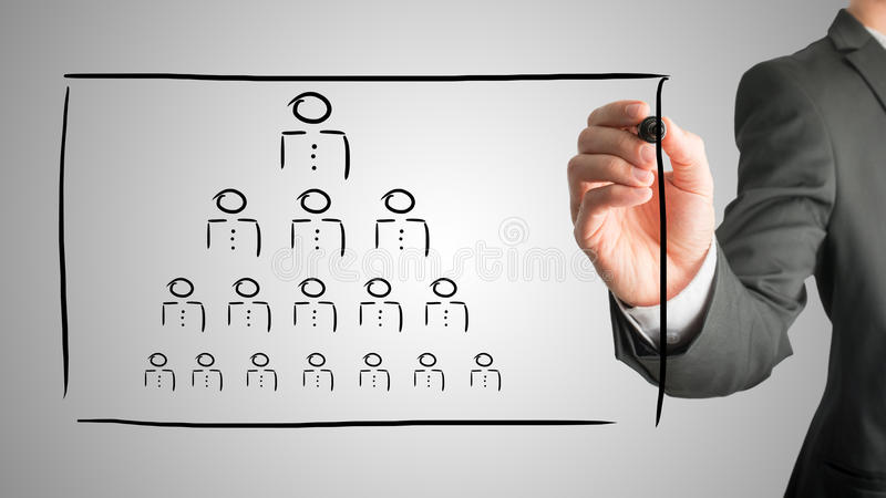 Hierarchy concept. Businessman drawing a hierarchy concept on a virtual interface with a pyramid formation of people depicting the boss, leadership and work stock photo