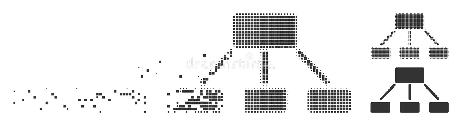 Hierarchy Fractured Pixel Halftone Icon. Fractured hierarchy pixel icon with disintegration effect. Halftone dotted and intact solid grey variants. Dots have vector illustration