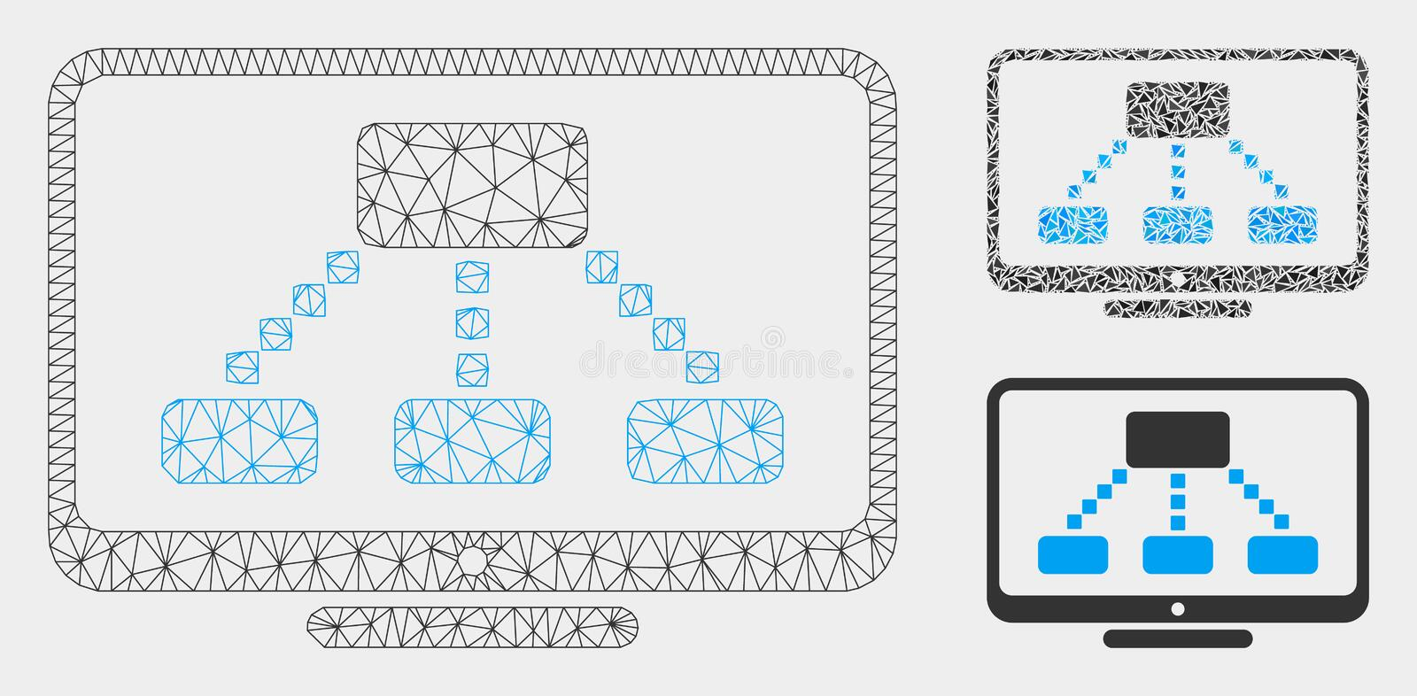 Hierarchy Monitor Vector Mesh Wire Frame Model and Triangle Mosaic Icon stock illustration