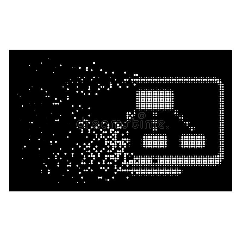 White Dust Pixelated Halftone Hierarchy Monitoring Icon vector illustration