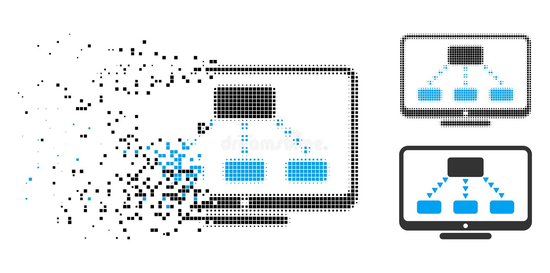 Damaged Dot Halftone Hierarchy Monitoring Icon stock illustration