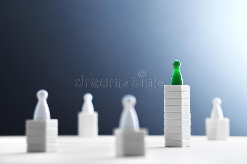 Hierarchy, power, management and leadership concept. Being unique and the best. Dominance, victory and winning challenge. Beat competitors. One different on royalty free stock photos
