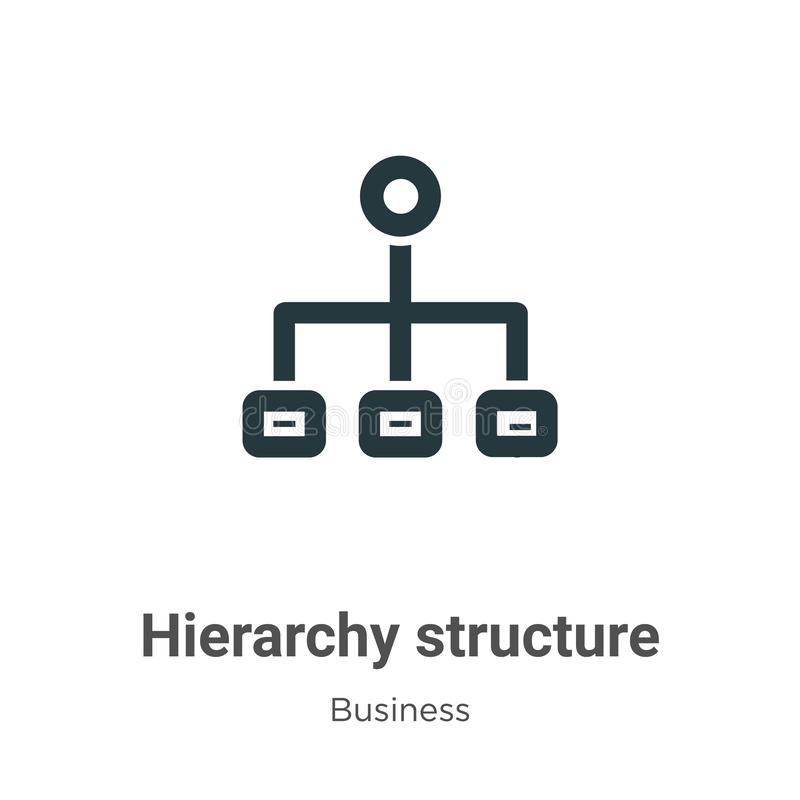 Hierarchy structure vector icon on white background. Flat vector hierarchy structure icon symbol sign from modern business stock illustration