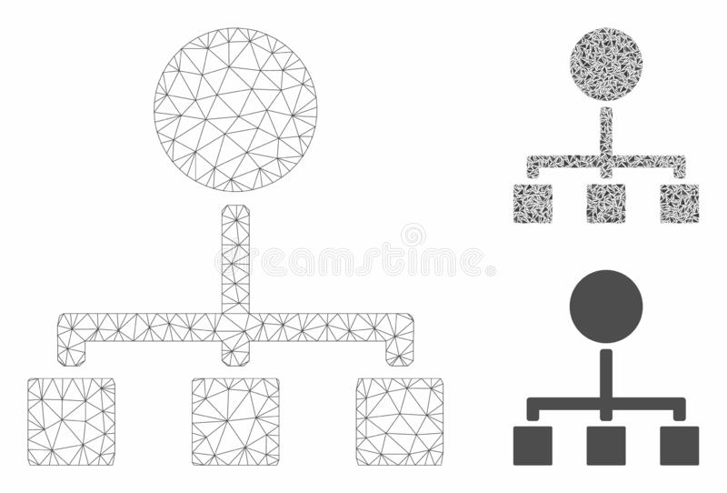 Hierarchy Vector Mesh Wire Frame Model and Triangle Mosaic Icon. Mesh hierarchy model with triangle mosaic icon. Wire carcass polygonal mesh of hierarchy. Vector vector illustration