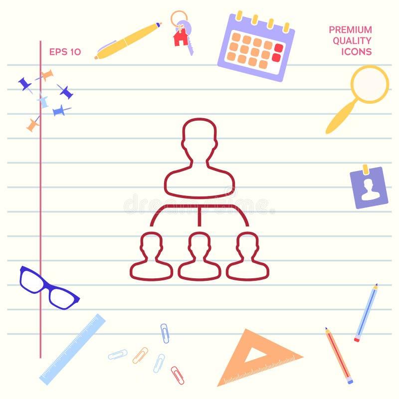Hierarki - linje symbol Grafiska beståndsdelar för din design stock illustrationer