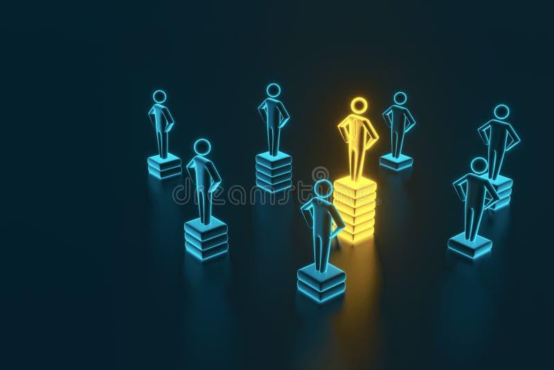 Hierarki-, makt-, ledning- och ledarskapbegrepp Vara unikt och den bästa tolkningen 3D royaltyfri illustrationer