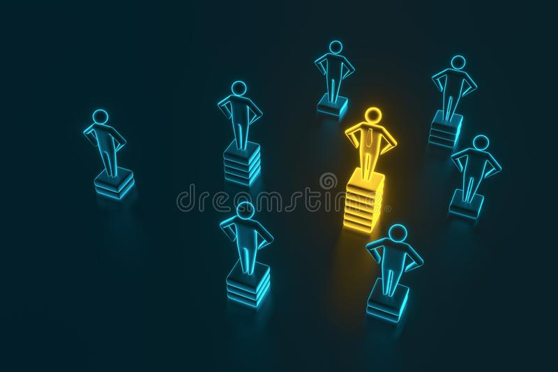Hierarki-, makt-, ledning- och ledarskapbegrepp Vara unikt och den bästa tolkningen 3D stock illustrationer