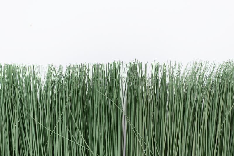 Hierba artificial verde en un fondo blanco Hierba fina en un pote brillante imágenes de archivo libres de regalías