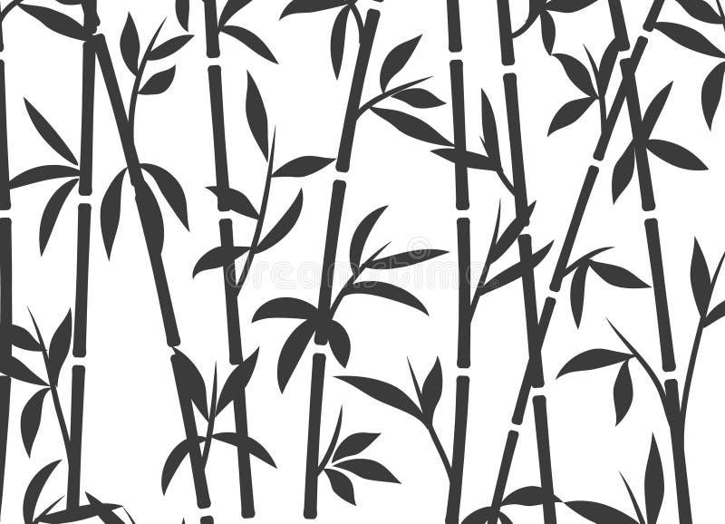 Hierba asiática japonesa del papel pintado de la planta del fondo de bambú Modelo de bambú del vector del árbol blanco y negro stock de ilustración