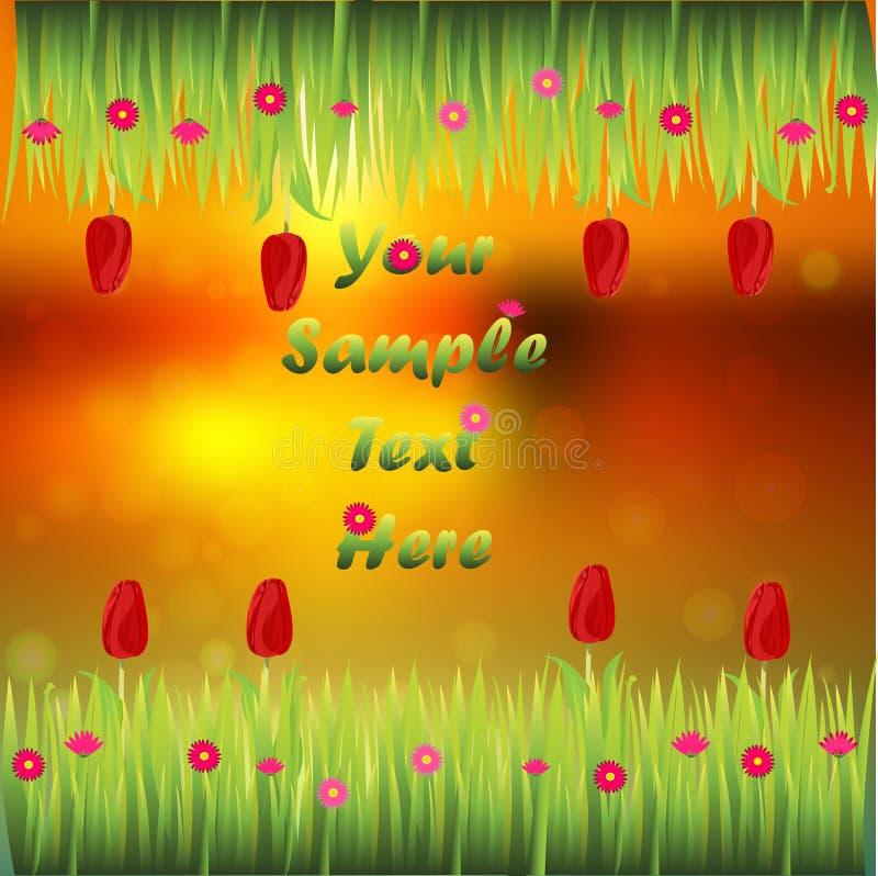 Hierba con las flores ilustración del vector
