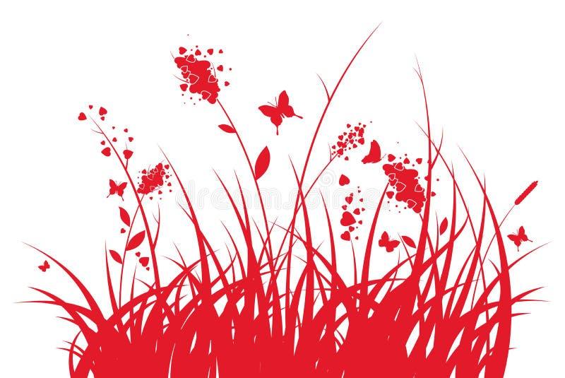 Hierba con los corazones y mariposas stock de ilustración