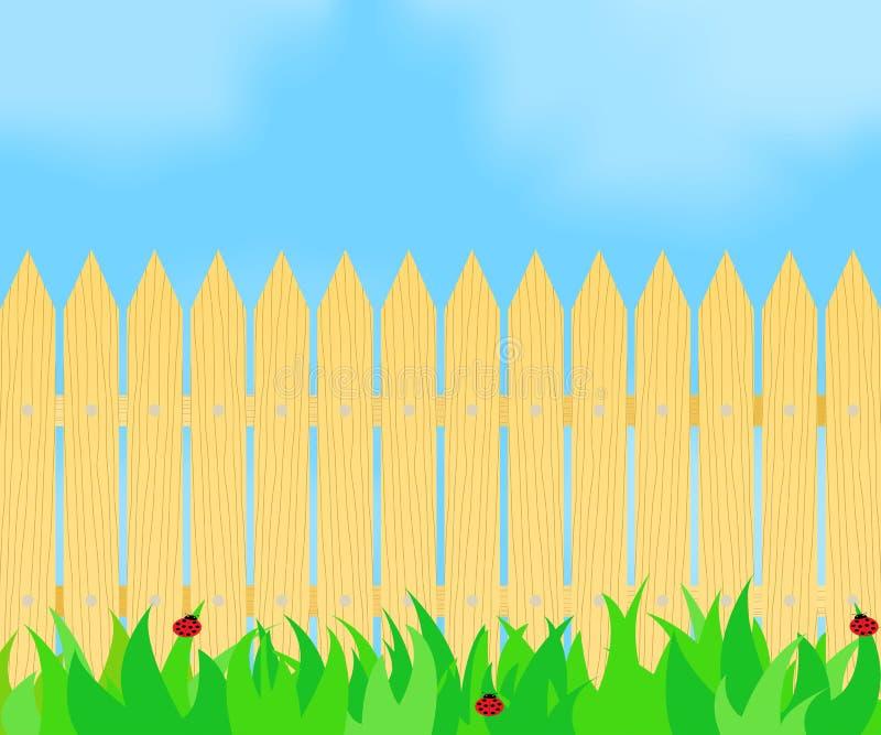 Hierba delante de la cerca stock de ilustración