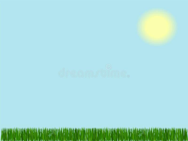 Hierba en fondo del cielo stock de ilustración