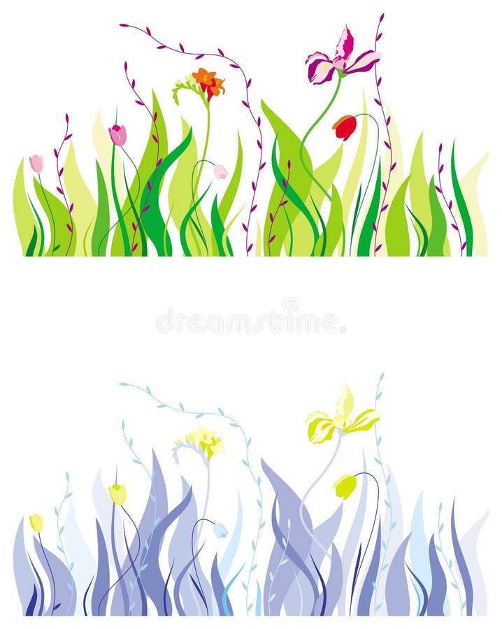 Hierba, hojas y flores ilustración del vector