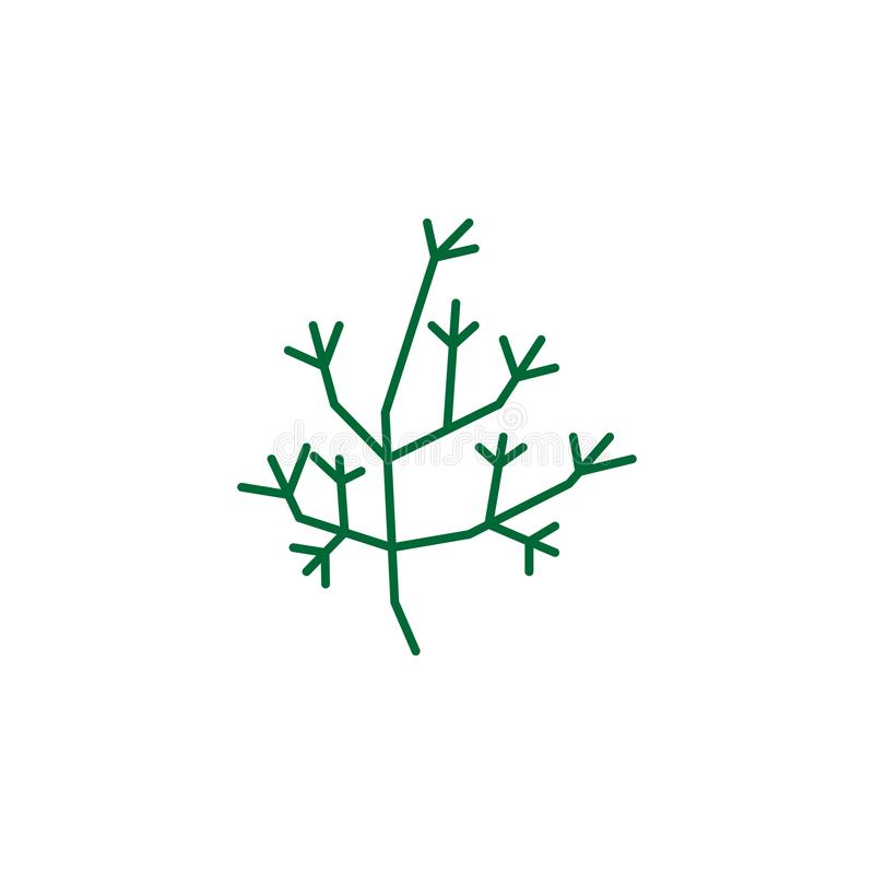 Hierba, icono del eneldo Elemento del icono de la hierba para los apps móviles del concepto y de la web La hierba detallada, icon ilustración del vector