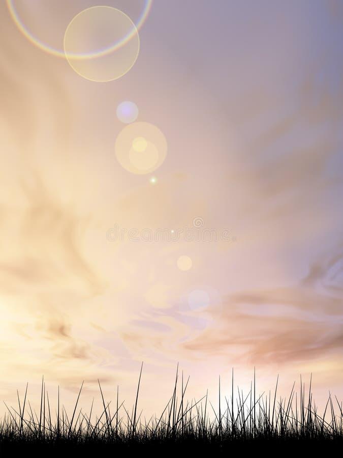 Hierba negra sobre fondo de la puesta del sol del cielo stock de ilustración