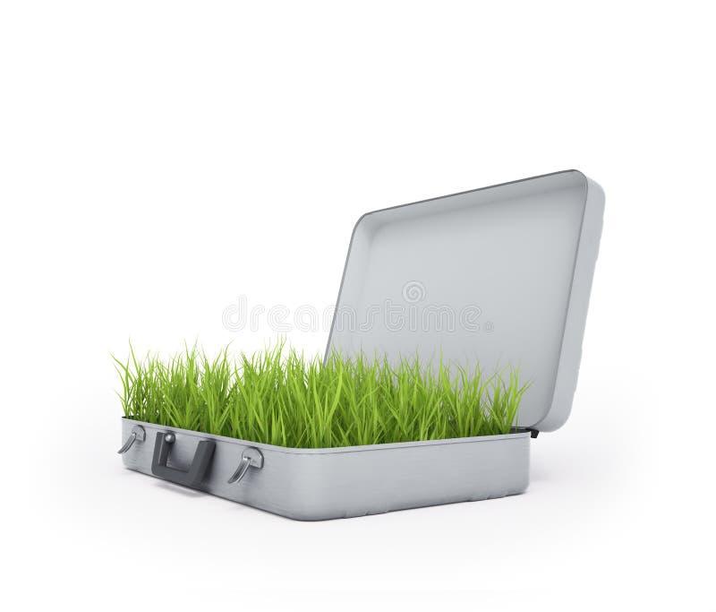 Hierba que crece fuera de una maleta ilustración del vector