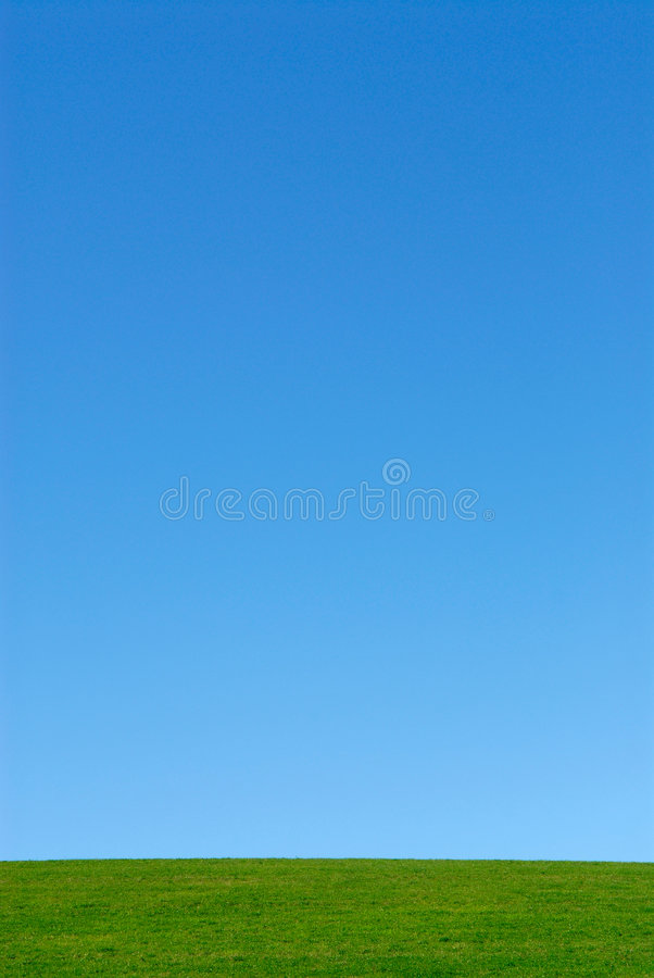 Hierba verde, cielo azul imagen de archivo