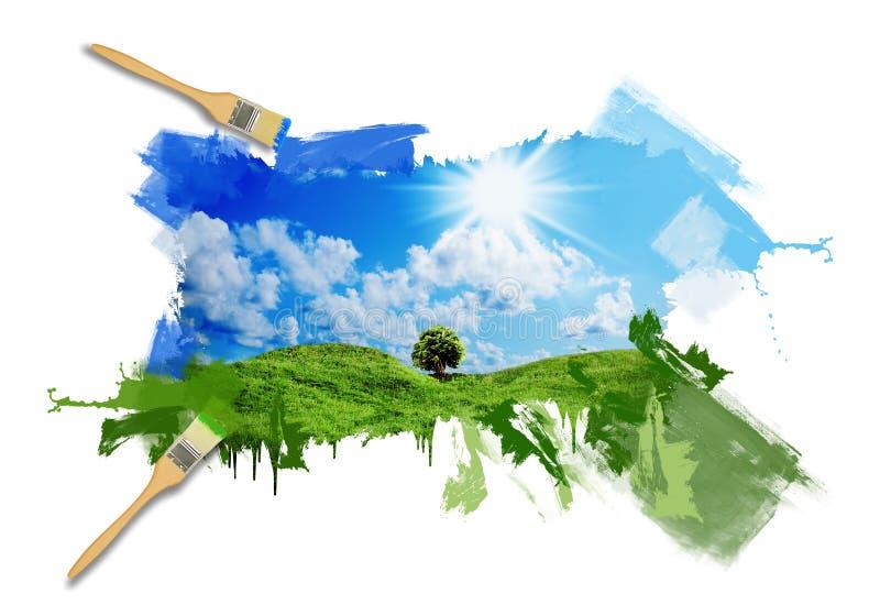 Hierba verde contra un cielo soleado azul ilustración del vector