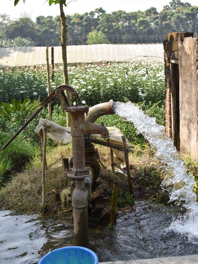 Hierba verde del flujo de la máquina del abastecimiento de agua de agua de la bomba de la tierra de cultivo baja de la fuente imagenes de archivo