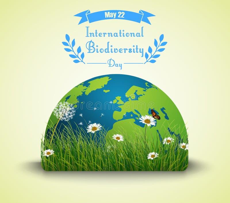 Hierba verde y flores con la tierra para el fondo internacional del día de la biodiversidad stock de ilustración
