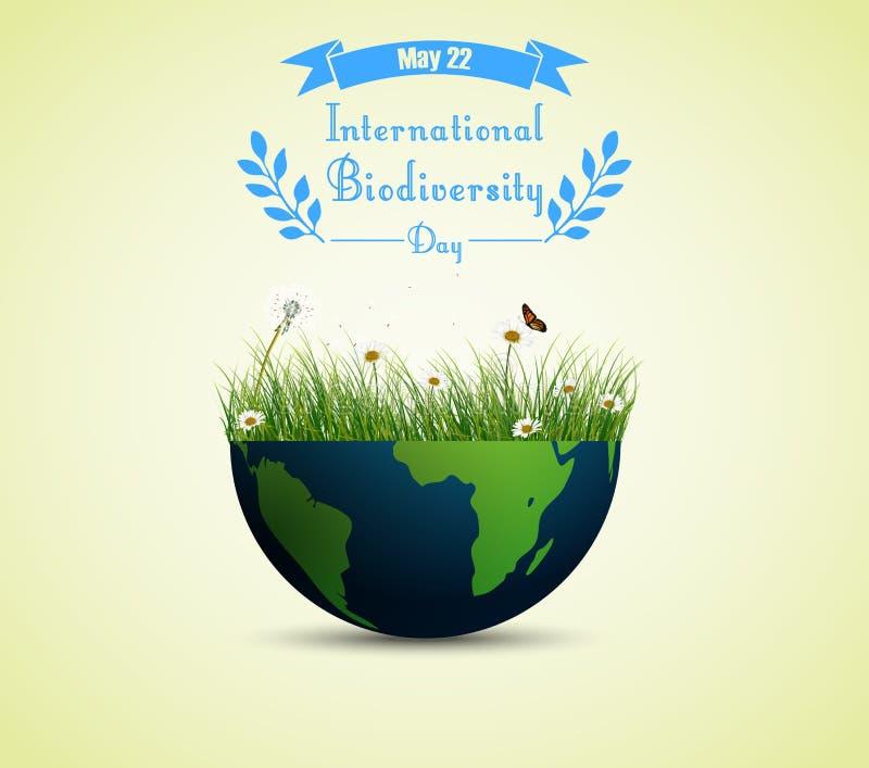 Hierba verde y flores dentro de la tierra para el fondo internacional del día de la biodiversidad ilustración del vector
