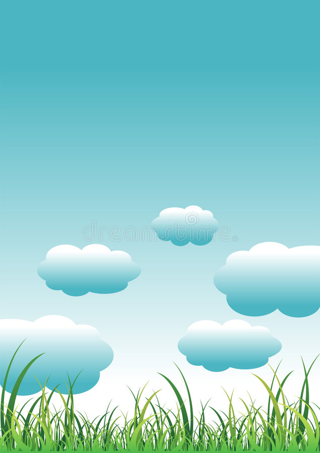 Hierba y cielo stock de ilustración