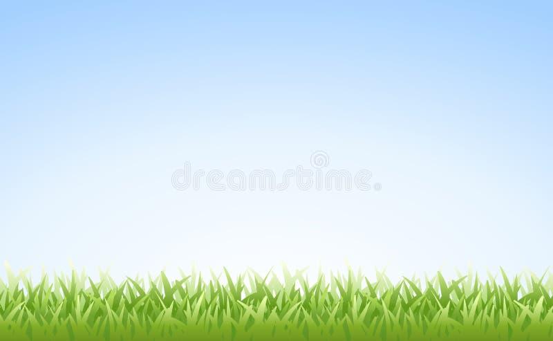 Hierba y cielo (inconsútiles) stock de ilustración
