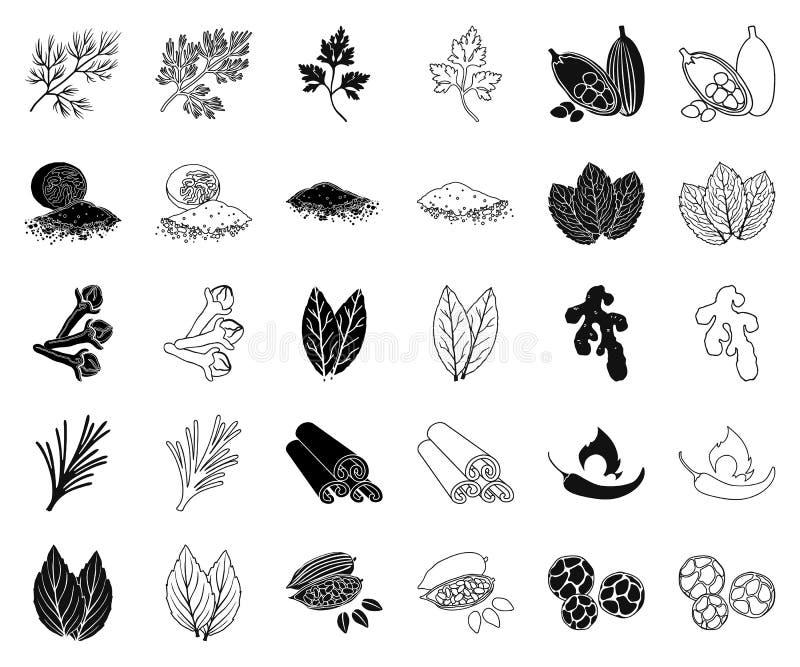 Hierba y especias negras, iconos del esquema en la colección determinada para el diseño Diferentes tipos de web de la acción del  ilustración del vector