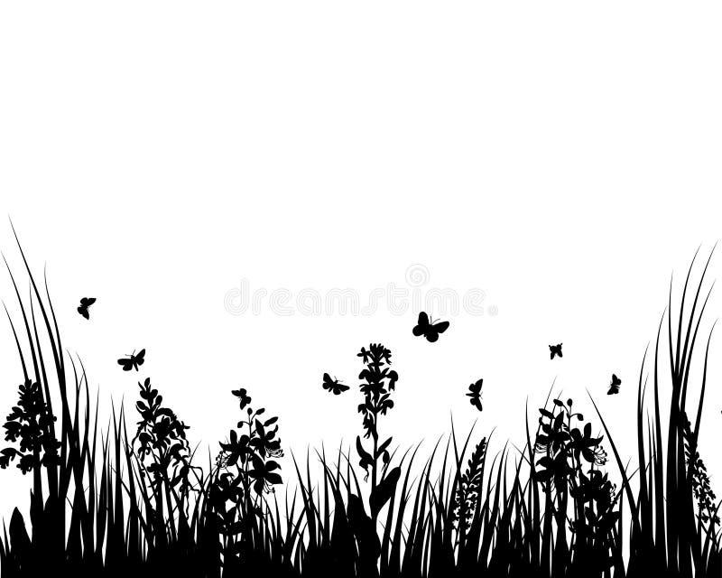 Hierba y flores ilustración del vector