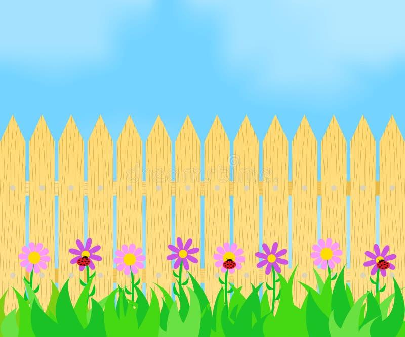 Hierba y flores antes de la cerca stock de ilustración