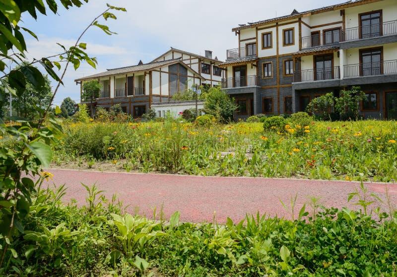 Hierba y flores del borde del camino antes de edificios de la vivienda del campo fotos de archivo